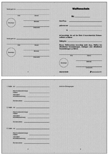 Muster Waffenschein | Quelle: Bundesministerium des Innern